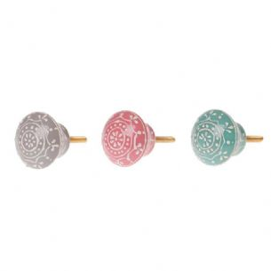 Henna Flower Floral Round Drawer Knob Cabinet Handle Pull  in 3 Pastel Colours